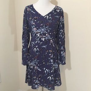 NWT LOFT Purple Frosted Branch Bell Sleeve Dress 6